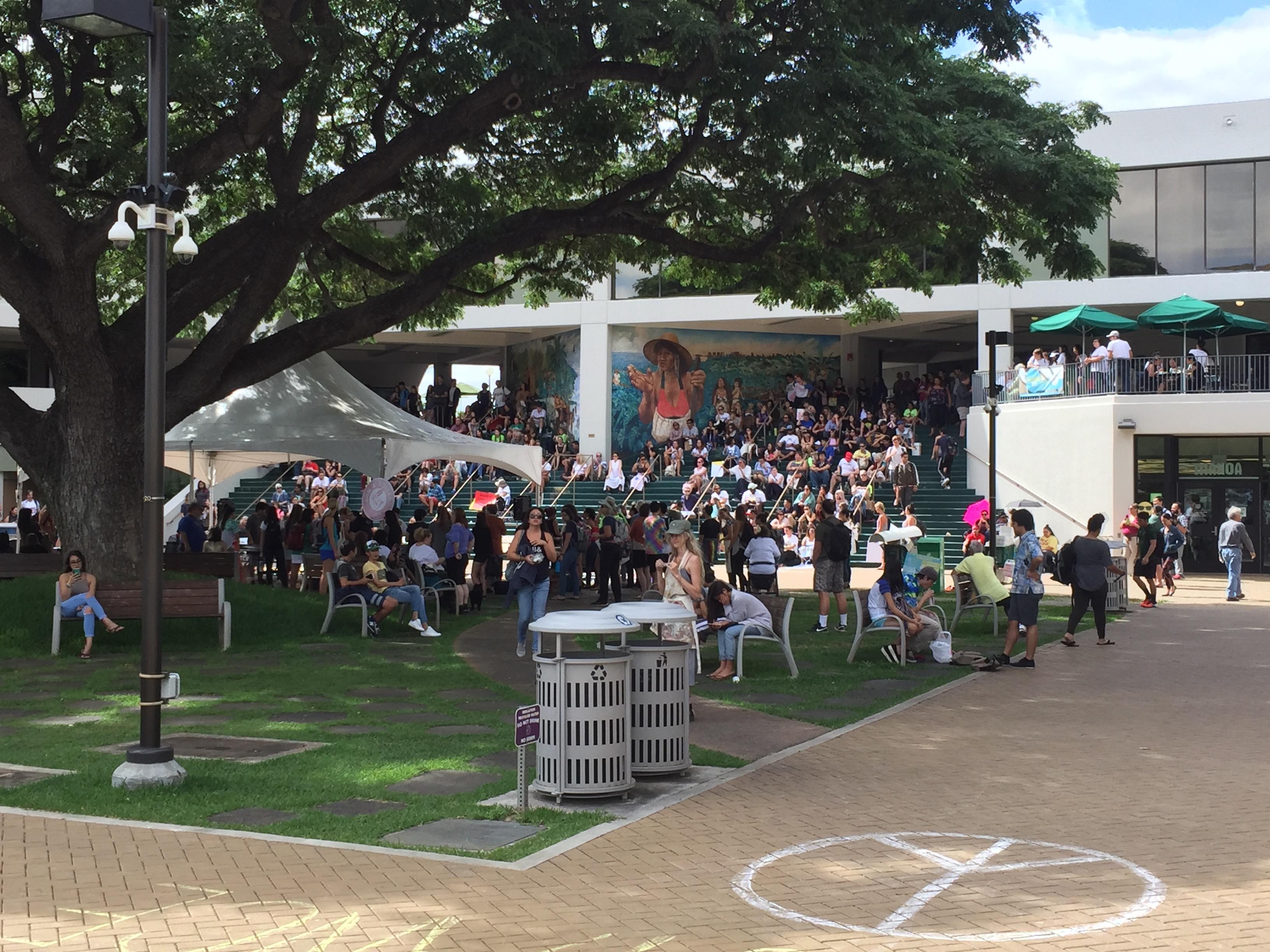 ハワイ大学の反トランプ大統領デモ